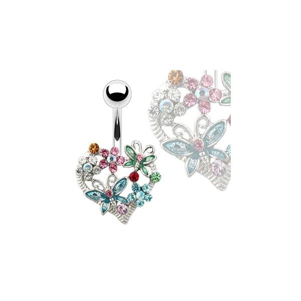 Stříbrný piercing do obočí s růžovým kamínkem