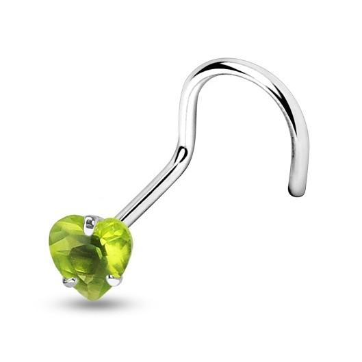Zahnutý piercing do nosu s kamínkem
