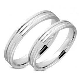 Ocelový prsten se zirkony, šíře 4 mm