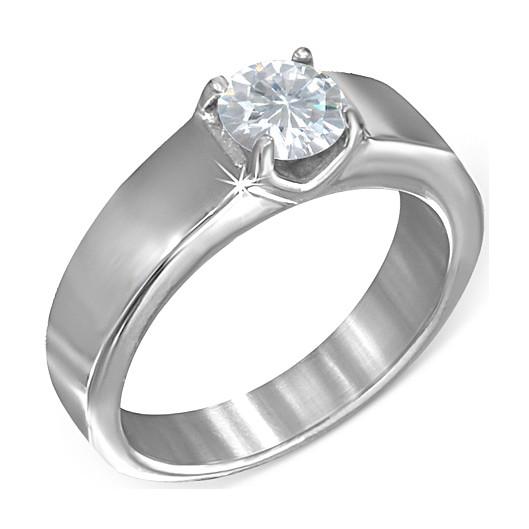 Ocelový prsten s modrým kamenem, velikost prstenu 52