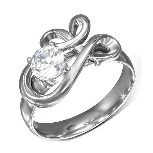 Ocelový prsten s perličkou, velikost prstenu 55
