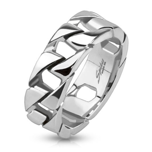 Ocelový prsten se zirkony, velikost prstenu 55
