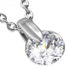 Stříbrný prsten s krystaly Swarovski bílý 35014.1