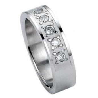 Rhodiovaný prsten se zirkony