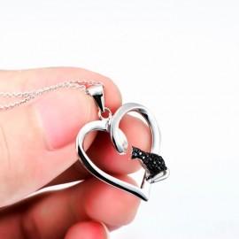 Stříbrný přívěšek srdce SWAROVSKI® el., Crystal