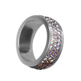Ocelové náušnice srdíčka 8 mm - černé krystaly ESW1036