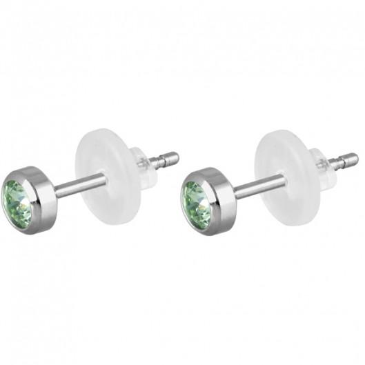 Ocelové náušnice visací perličky bílé, 10 mm