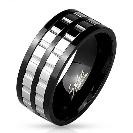 Ocelový prsten černý, šíře 6 mm, velikost prstenu 70