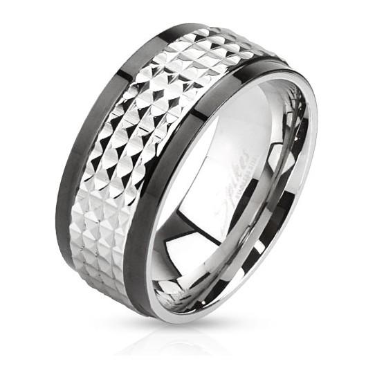 Ocelový prsten lesklý, šíře 8 mm, velikost prstenu 70