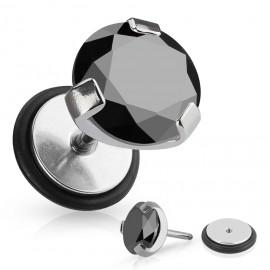 Stříbrný piercing do pupíku se štítem - kytičky