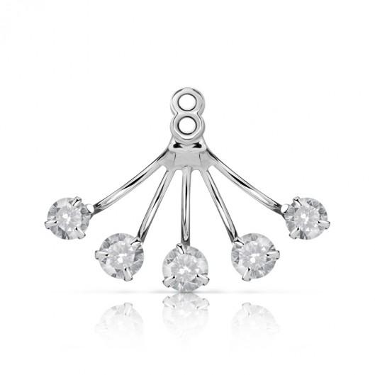 Stříbrný prsten s čirými zirkony, velikost prstenu 57