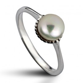 Stříbrný prsten s přírodní perlou 5,5 mm