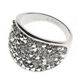 Ocelový prsten s krystaly Crystals from Swarovski®, CRYSTAL CAL