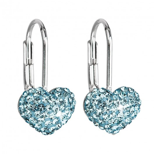 Dívčí stříbrné náušnice srdíčka s krystaly Crystals from Swarovski®, Aqua