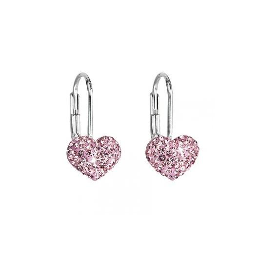 Dívčí stříbrné náušnice srdíčka s krystaly Crystals from Swarovski®, Rose