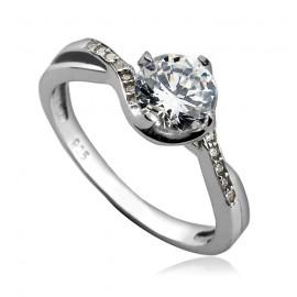 Stříbrný zásnubní prsten se zirkony ZB82983