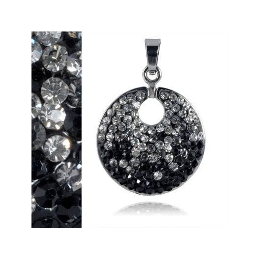 Ocelový přívěšek - čiré a černé krystaly
