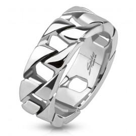 Pánský ocelový prsten proplétaný