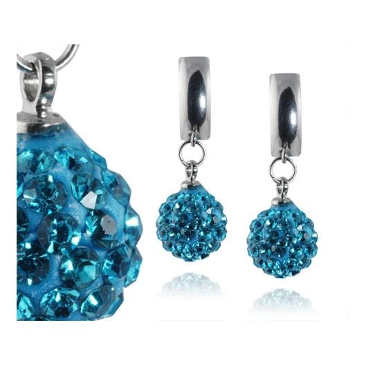 Ocelové náušnice kuličky - tyrkysové krystaly