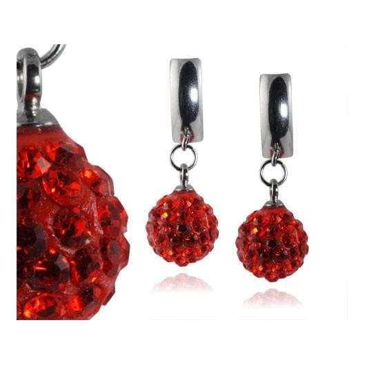 Ocelové náušnice kuličky - červené krystaly