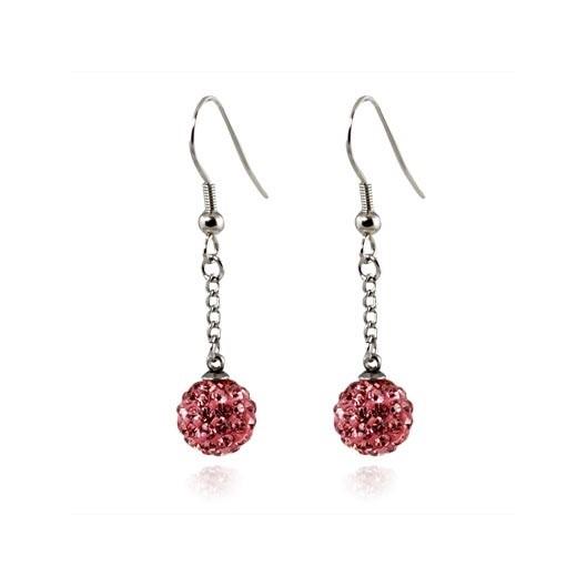 Ocelové náušnice kuličky - růžové krystaly