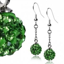 Ocelové náušnice kuličky - zelené krystaly