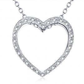 Stříbrný náhrdelník srdce srdíčko s mikrozirkony