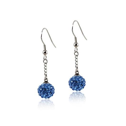 Ocelové náušnice kuličky - modré krystaly