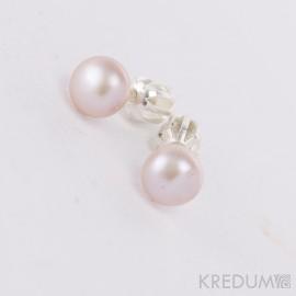 Stříbrné náušnice s růžovými perlami 6 mm