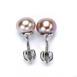 Šroubovací stříbrné náušnice přírodní perly 7,5 mm