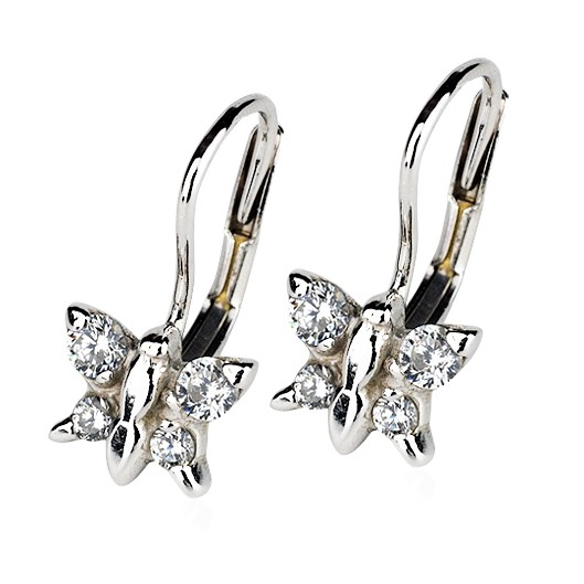 Dívčí stříbrné závěšné náušnice - motýlci