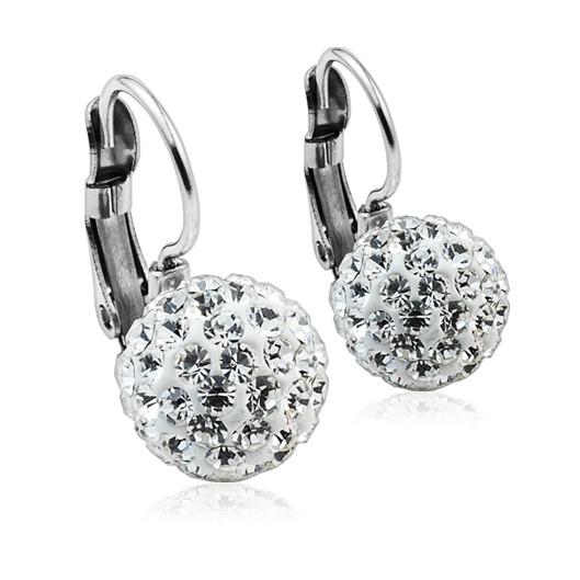 Ocelové náušnice koule 10 mm s krystaly Swarovski®