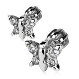 Stříbrné náušnice - motýlci