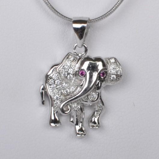 Stříbrný přívěšek slon se zirkony