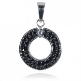 Ocelový přívěšek kroužek - černé krystaly