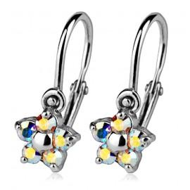 Dětské náušnice stříbrné - kytičky, Crystals from SWAROVSKI®, barva: AB