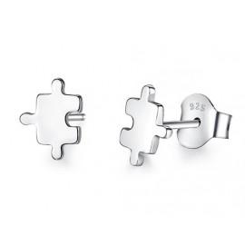 Stříbrné náušnice puzzle