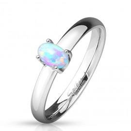 Ocelový prsten s bílým opálem