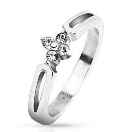 Zásnubní ocelový prsten se zirkony