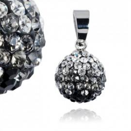 Ocelový přívěšek kulička 12 mm - čiré a černé krystaly