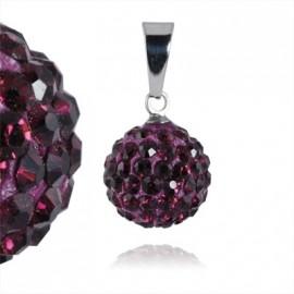 Ocelový přívěšek kulička 12 mm - temně fialové krystaly