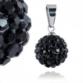 Ocelový přívěšek kulička 12 mm - černé krystaly