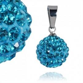 Ocelový přívěšek kulička 12 mm - tyrkysové krystaly