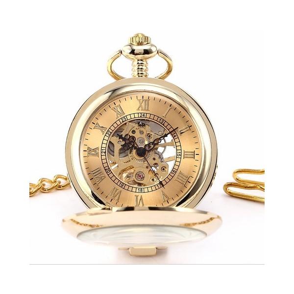 Zlacené mechanické kapesní hodinky otevírací - cibule Hodinky ed51ca5878