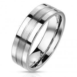 Ocelový prsten s matným pruhem
