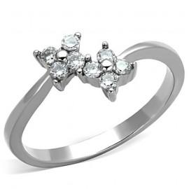 Ocelový prsten s kytičkami