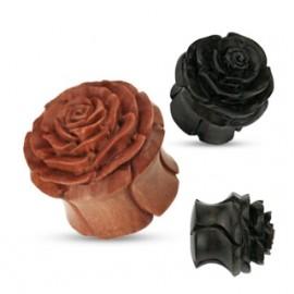 Vyřezávaný plug do ucha růže - přírodní dřevo