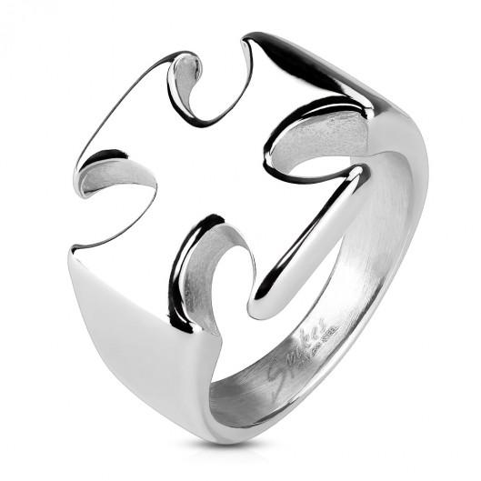 Ocelový prsten - maltézský kříž