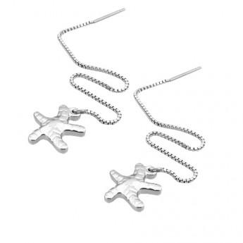 Řetízkové ocelové náušnice - mořské hvězdice