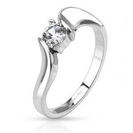 Dámský ocelový prsten se zirkonem